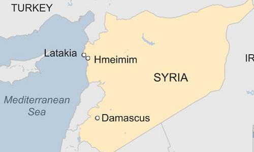 Vị trí căn cứ không quân Hmeymim của Nga ở Syria. Đồ họa:BBC.