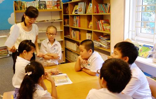 Học sinh học tại trường tiểu học của Hà Nội. Ảnh: Quỳnh Trang.