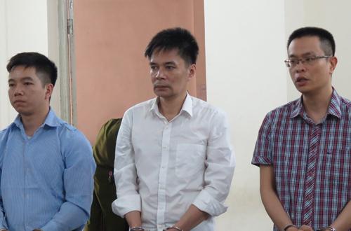 Ba bị cáo tại phiên tòa sơ thẩm hôm nay.