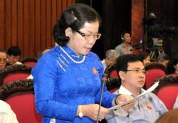 Bà Lệ phát biểu thảo luận trong nhiệm kỳ làm Đại biểu quốc hội khóa XIII. Ảnh: Đoàn đại biểu quốc hội tỉnh Bình Phước