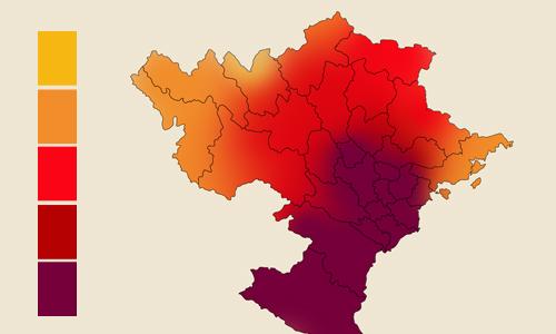 Nắng nóng bao phủ Bắc và Trung Bộ. Đồ họa: Việt Chung