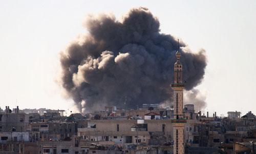Không quân Nga ném bom xuống mục tiêu FSA ở Deraa hôm 5/6. Ảnh: AFP.