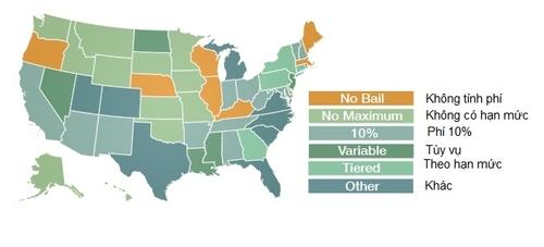 Mức phí dịch vụ của các công ty bảo lãnh theo từng tiểu bang. Ảnh: Aboutbail.