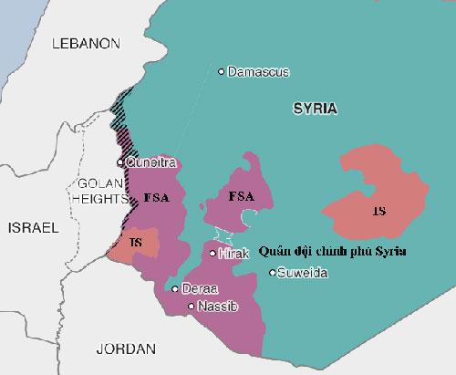 Quân đội Syria đang nỗ lực lấy lại thành phố Deraa và tỉnh Quneitra từ tay quân nổi dậy và phiến quân IS. Đồ họa:BBC.