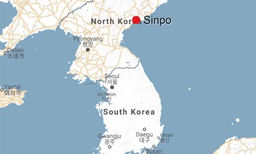 Thành phố cảng Sinpo nằm ở phía đông Triều Tiên. Đồ họa: Google Map.