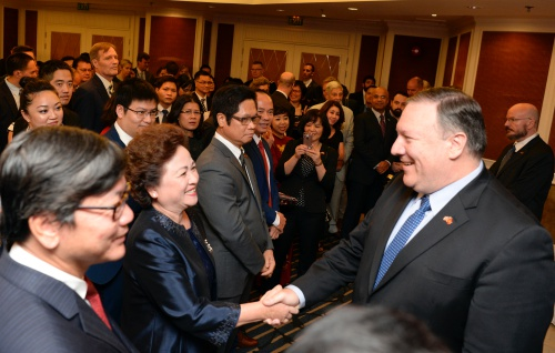 Ngoại trưởng Mỹ gặp gỡ giới doanh nghiệp Việt Nam tại Hà Nội ngày 8/7. Ảnh: Đại sứ quán Mỹ tại Hà Nội.