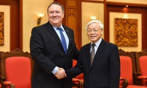 Tổng bí thư Nguyễn Phú Trọng tiếp Ngoại trưởng Mỹ Pompeo đến thăm. Ảnh: Giang Huy.