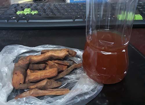 Chai rượu ngâm rễ cây mà anh Dần và Sơn đã uống được cơ quan chức năng thu giữ. Ảnh: Nguyễn Hải.
