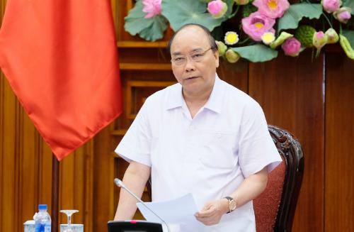 Thủ tướng Nguyễn Xuân Phúc trong phiên họp Chính phủ ngày 9/7. Ảnh: VGP