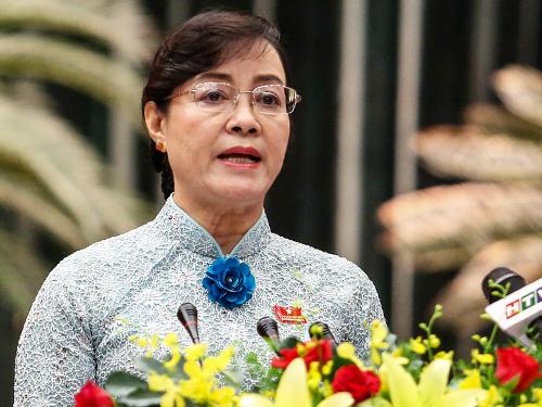 Chủ tịch HĐND TP HCM Nguyễn Thị Quyết Tâm phát biểu khai mạc kỳ họp. Ảnh: Thành Nguyễn