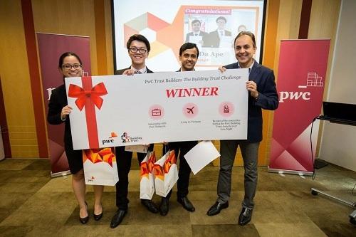 Phạm Thành Đạt (mắt kính) và Nguyễn Phương Thảo (mắt kính) trong đội vô địch cuộc thi PwC Trust Builders do PwC (Malaysia) vào năm 2017.