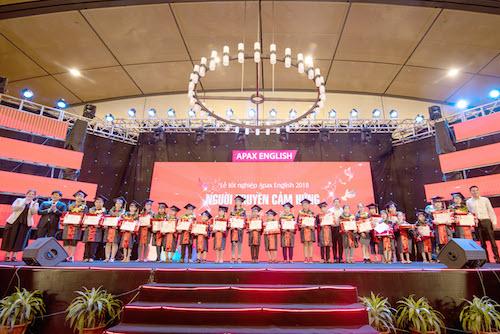 Vừa qua, tại Trung tâm Hội nghị Quốc gia, 400 gương mặt học sinh xuất sắc của chuỗi trung tâm Tiếng Anh Apax English đã có buổi lễ tốt nghiệp đánh dấu sự trưởng thành, tiến bộ của các bạn nhỏ trong việc học tiếng Anh.
