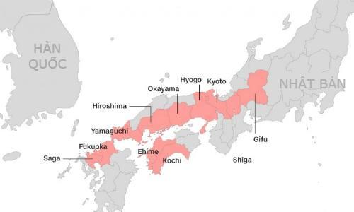 Các khu vực bị ảnh hưởng trong đợt mưa lũ ở Nhật. Đồ họa: CNN.
