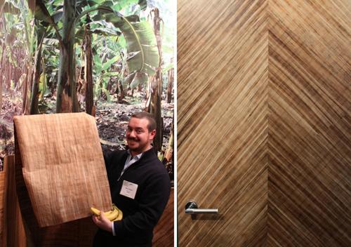 Marco Cassin giới thiệu các tấm ép mỏng từ thân chuối và cánh cửa làm từ gỗ ép thân chuối. Ảnh: tristantiteux.com