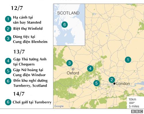 Nghị trình của Trump trong chuyến thăm Anh. Đồ họa: BBC.