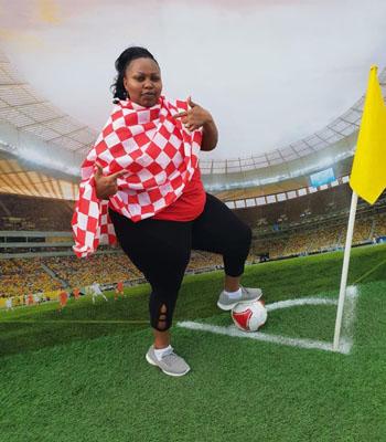 Thượng nghị sĩ Millicent Omanga đăng ảnh đi xem World Cup ở Nga. Ảnh: Facebook.