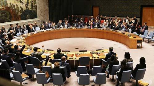 Hội đồng Bảo an Liên Hợp Quốc họp thông qua các lệnh trừng phạt nặng nề đối với Triều Tiên tháng 12/2017. Ảnh: AFP.