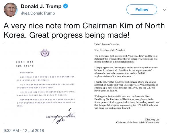 Tổng thống Trump công bố thư trên Twitter. Ảnh chụp màn hình: Twitter.