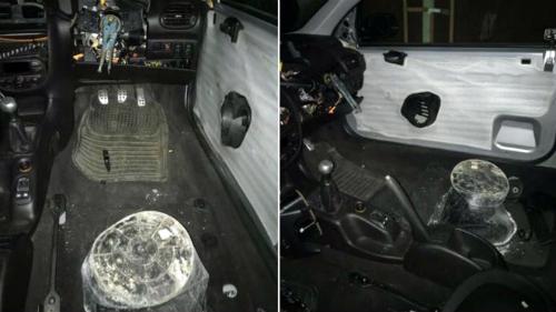 Ở vị trí của ghế lái là một chiếc xô móp, trong khi một chiếc kìm nằm ở chỗ vốn là vô-lăng. Ảnh: NSroadspolicing.