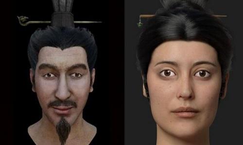 Gương mặt phục dựng của hai người nghi là con trai và phi tần của hoàng đế Tần Thủy Hoàng. Ảnh: SCMP.
