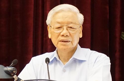 Tổng bí thư Nguyễn Phú Trọng phát biểu tại hội nghị. Ảnh: L.H.