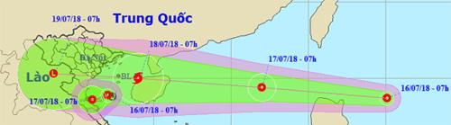 Áp thấp nhiệt đới này dự báo đêm nay sẽ vào biển Đông và ảnh hưởng đến miền Bắc, Bắc Trung Bộ. Ảnh: NCHMF