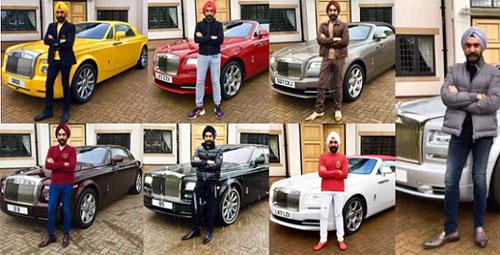 Trọn bộ 7 chiếc Rolls-Royce cùng màu khăn xếp của tỉ phú gốc Ấn.