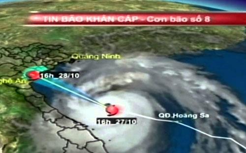 Đường đi của cơn bão số 8 - bão Sơn Tinh.