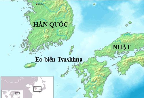 Vị trí eo biển Tsushima, nơi diễn ra trận hải chiến giữa hải quân đế quốc Nga và Nhật năm 1904. Đồ họa: Wiki.