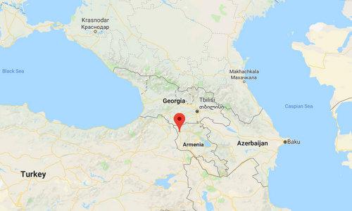 Khu vực Gyumri nằm gần biên giới giáp Thổ Nhĩ Kỳ và Georgia. Đồ họa: Google Earth.