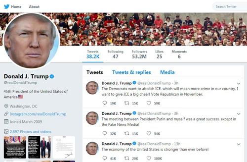 Tổng thống Mỹ thườngdùngTwitterđể đăng tin. Ảnh: Dsim