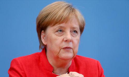 Thủ tướng Đức Angela Merkel trong buổi họp báo hôm qua tại Berlin. Ảnh: Reuters.