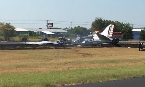 Chiếc máy bay C-47 hư hại nặng sau vụ tai nạn. Ảnh: Văn phòng Cảnh sát trưởng Burnet.