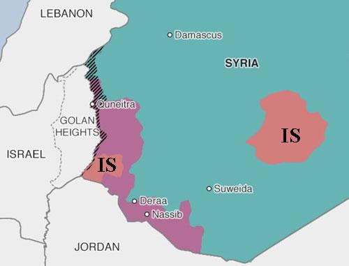IS (màu cam) đang tìm cách chiếm những khu vực quân nổi dậy Syria bỏ lại (màu tím). Đồ họa: BBC.