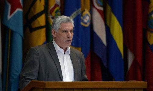 Chủ tịch Cuba Miguel Diaz-Canel phát biểu trong một phiên họp tại thủ đô Havana hôm 17/7. Ảnh: AFP.