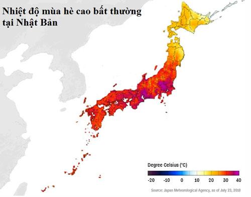 Nắng nóng xảy ra trên cả ba đảo chính của Nhật Bản là Honshu, Shikoku và Kyushu. Đồ họa: Cơ quan Khí tượng Nhật Bản.