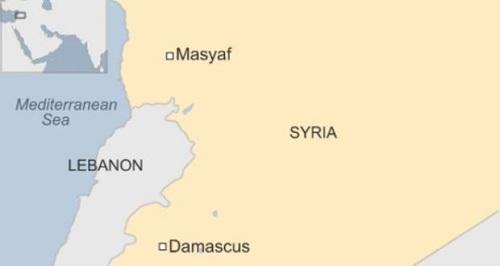 Vị trí thị trấn Masyaf. Đồ họa: BBC.