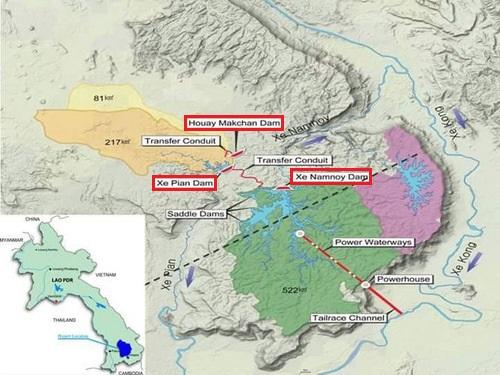 Vị trí ba con đập chính (khoanh đỏ) của thủy điện Xe Pian-Xe Namnoy. Đồ họa: PNPC.