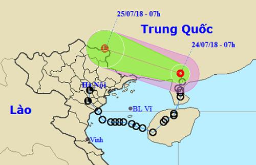 Dự báo đường đi và khu vực ảnh hưởng của áp thấp nhiệt đới. Ảnh: NCHMF.