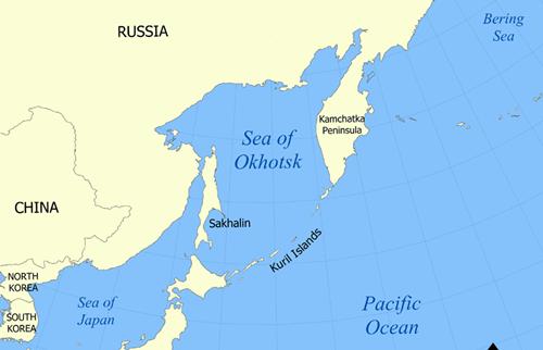 Vị trí vùng biển Okhotsk. Đồ họa:Wikipedia.