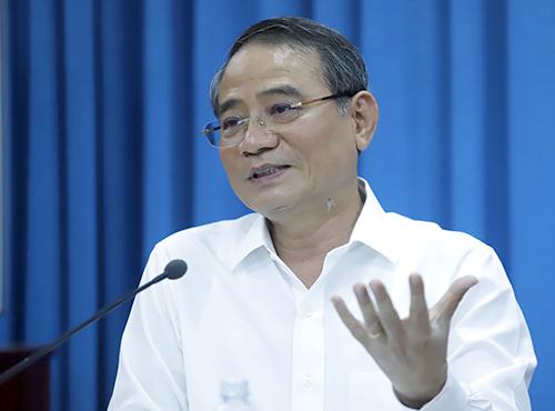 Bí thư Thành ủy Đà Nẵng Trương Quang Nghĩa tại buổi nói chuyện với CLB Thái Phiên. Ảnh: Nguyễn Đông.