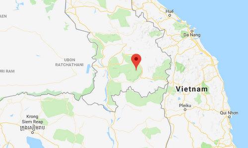 Vị trí của đập thủy điện Xe Pian - Xe Namnoy. Đồ họa: Google Earth.
