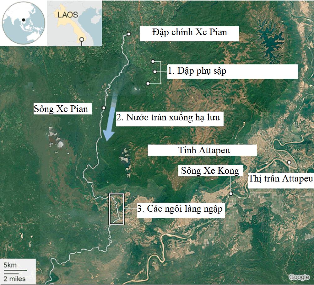 Vị trí con đập bị vỡ trong công trình thủy điện Lào