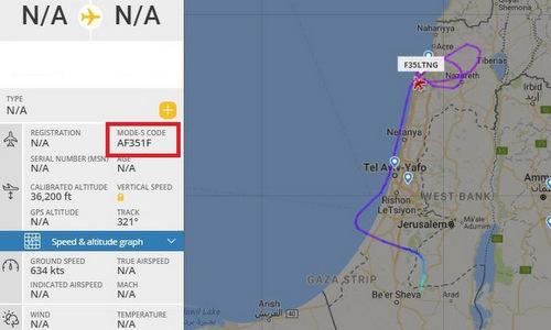 Thông tin về chuyến bay hôm 23/7 của tiêm kích tàng hình Israel. Ảnh: FR24.