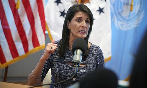 Đại sứ Mỹ Nikki Haley phát biểu tại phiên họp của Liên Hợp Quốc tháng 6/2018. Ảnh: Politico.