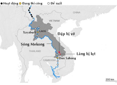 Lào đang thi công hai đập trên dòng chính sông Mekong là Xayaburi và Don Sahong. Đồ họa: International Rivers.