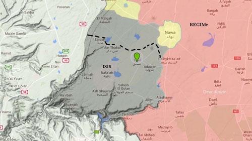 Khu vực lòng chảo Yarmouk do IS kiểm soát (màu xám) ở biên giới phía nam Syria. Đồ họa: Twitter.