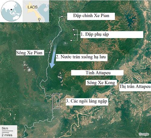 Vị trí con đập bị vỡ trong công trình thủy điện Lào. Bấm vào hình để xem chi tiết. Đồ họa: BBC.
