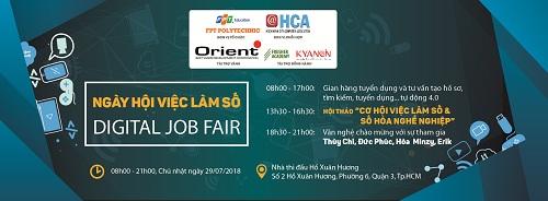 Ngày hội việc làm số - Digital Job Fair do trường Cao đẳng FPT Polytechnic và Hội Tin học TP HCM tổ chức.