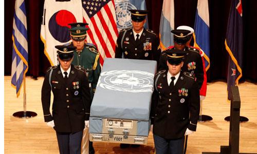 Lễhồi hương hài cốt binh sĩ thờiChiến tranh Triều Tiên giữa Hàn Quốc và Mỹ tại Seoul hôm 14/7. Ảnh: Reuters.